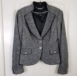 WHBM Classic Gray Tweed Wool Silk Fitted Blazer
